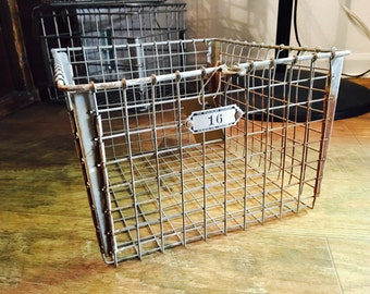 Vintage Industrial Metal Washburn Wire Locker Basket