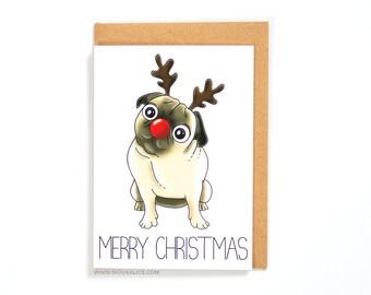 Pug Christmas Card, christmas cards, dog, greetings cards holiday happy holidays merry christmas xmas pug rudolf reindeer