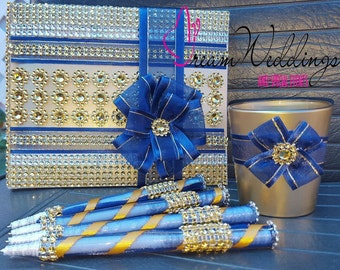 Blue & Gold Wedding Guest book + Pen set ,wedding guest book,wedding pens,gold book,blue book,wedding sign in book