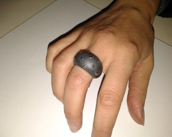 "Sterling Silver Ring ""Black Metal Ring"""