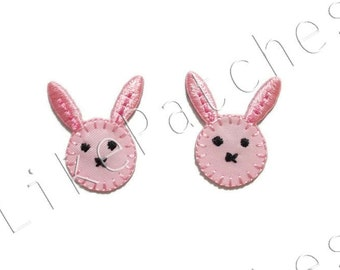 Set 2pcs. Super Cute Pink Baby Rabbit Face, Animal, Cartoon New Sew / Iron On Patches Embroidered Applique Size 2.1cm.x2.6cm.