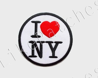 I Love New York - I Love NY - White Circle Patch - Red Heart - New Sew / Iron on Patch Embroidered Applique Size 7.2cm.x7.2cm.