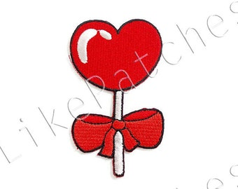 Red Heart Candy & Ribbon Bow New Sew / Iron On Patch Embroidered Applique Size 4.8cm.x8.2cm.