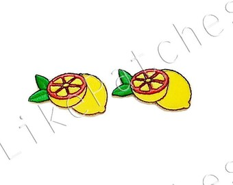 Set 2pcs. Lemon Sour Summer Yellow Fruit New Sew / Iron On Patch Embroidered Applique Size 4.2cm.x2.3cm.
