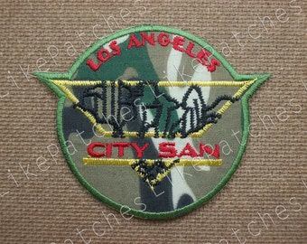 Sew / Iron On Patches Los Angeles City San Us Army Como Embroidered Applique Size 8.2x6.6cm.