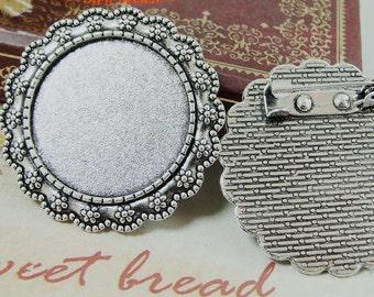 Wholesale 20pcs Handmade Flower Brooch/Pin/Breast Pin Pendant Trays  -25mm Round Bezel Cabochon Settings - Pendant Tray Blanks