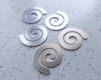 5 spiral aluminium blanks 35mm across cut from 1.5mm aluminium