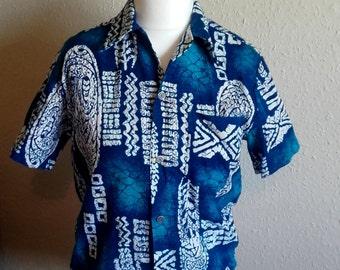 Vintage 60's Hawaiian Tiki Men's Shirt Shades of blue Made in Hawaii