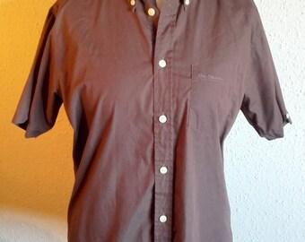 Vintage Brown Ben Sherman short sleeve Button Up Men's shirt