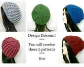 CROCHET PATTERNS, Design Discount - 5 Patterns, Crochet Hat Pattern, Womens Hat Pattern, Instant Download, Crochet Pattern, Crochet (bb09)