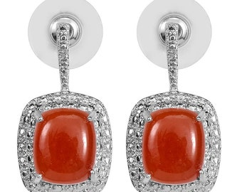 Red Jade Dyed Cushion Cut, Simulated Diamond Post Back Drop Earrings Platinum Bonded Brass TGW 13.00 cts.
