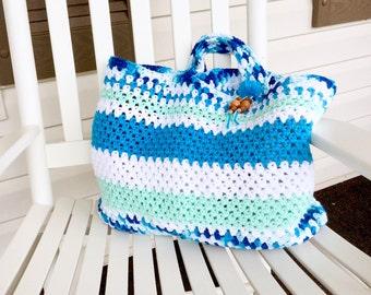Large Blue & White Crochet Beach Tote Bag