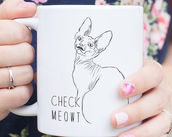 Check Meowt Sphynx Cat Mug - Gifts For Cat Owner, Sphynx Cat Lover, Hairless Cat Art, Hairless Cat gift, Funny Cat Gift, Cat Pun, Cat Gift