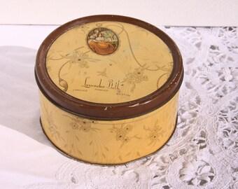1930's Vintage Lavendar Powder Tin, Adorable and Romantic, Bath Powder Tin Lavender Bath Powder, Langlois Inc, Boston, Made in USA, Art Deco