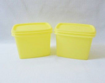Set of Two Vintage Lemony Yellow Tupperware Small Rectangular Storage Container Collectible Tupperware
