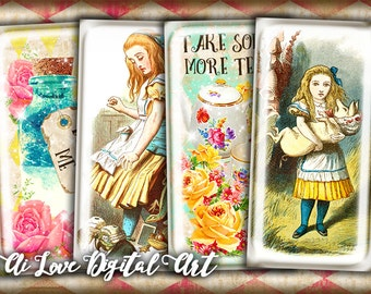 Instant download, Alice in Wonderland, domino 1x2 inch collage sheet, digital download, printable images jewelry making, rectangle cabochon