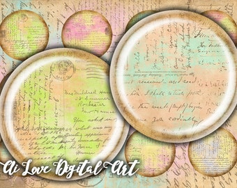 Instant download Old Letters digital collage sheet 1.5 inch, 30mm, 1 inch circle bottle cap images, digital download cabochon jewelry making