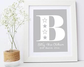 New Baby Gift, Framed Nursery Print, Alphabet Name Celebration Print