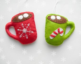 Set Felt Christmas ornament Kawaii Felt Christmas Ornaments