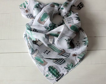 Mothers day GIFT, Cactus gift, bandana scarf, Hipster scarf, succulent cactus print, square scarf, white scarf, gift for her, gift for mom