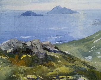 """Islands of 'Scarriff and Deenish' (Ireland) 12x9"""" oil on canvas"""