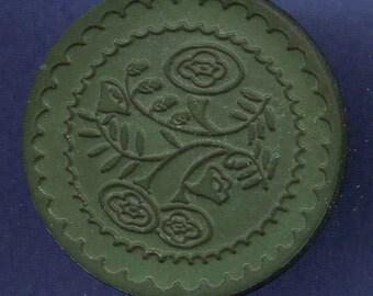 Vintage Button, Plastic Green w Stamped Floral Design, Large