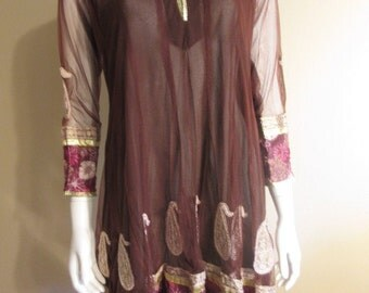 Goovy Dark Brown 60s Dress or Tunic, Hippi Halloween Costume