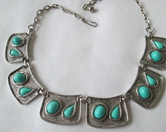 1950s Silver Tone Faux Turquoise Link Necklace