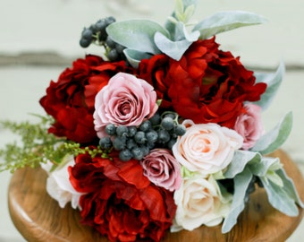 Silk Marsala Blush Peony Bouquet Winter Wedding Bouquet with Peony, Roses, and Berries - Silk Bouquet