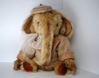 Mohair Elephant in Coat and Hat