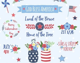 80% OFF SALE Fourth of July Clipart, Independence Day Clipart, America Clipart, Printable, Commercial Use