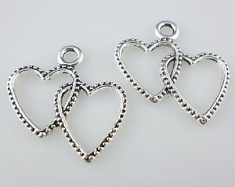 "10 Heart, gears, entwined, steampunk, jewelry, vintage,  tibetan silver charms approx.1"" x 3/4"" US Shipper Quick"