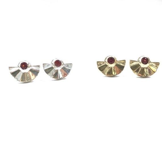 Garnet Fan Stud Earrings