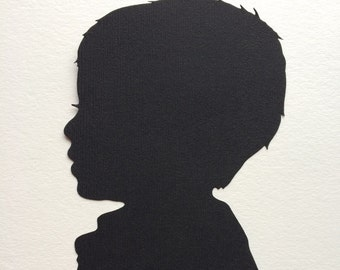Custom Silhouette Picture -Silhouette Cameo -Child Silhouette Portrait -5 x 7 Art - Portrait Paper Cutout - Family Keepsake