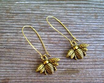 Gold Bee Earrings, Bee Kidney Wire Earrings, Antiqued Gold Bee Earrings, Bee Jewelry, Pierced Dangle Earrings