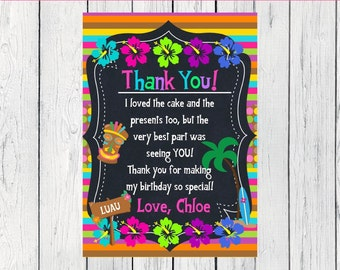 Thank You Card - Luau Party Personalized  ***Digital File*** (Aloha-THX)