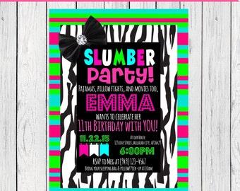 Slumber Party ANY Birthday Invitation - ***Digital File*** (Slumber-Neon)