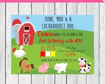 Farmer Personalized Birthday invitation ***Digital File*** (Farmer-Barn)