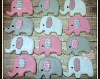 "Pink Elephant  Baby Girl Shower decorated Sugar Cookies 2"" -1 dozen"