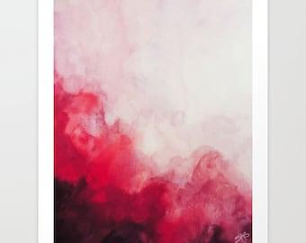 Watercolor Print, Red Abstract Art, Canvas Print, Art Print, Wall Art, Watercolor Painting, Home Decor, Wall Decor.