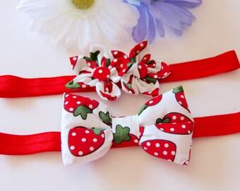Strawberry Headband, Baby Headband, Bow Headband, Flower Headband, Red Headband, Girls Headband, Baby Bow Headband, Baby Flower Headband,