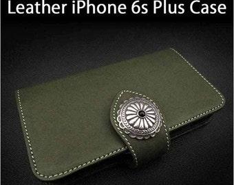 Leather iPhone Case 6s Plus  Olive Colour K01E03