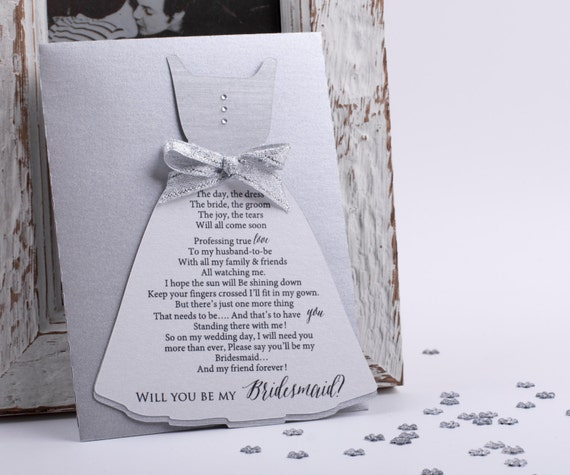 Bridesmaid Card Will you be my Bridesmaid Card Wedding Card in Silver Asking Bridesmaid Sold in Sets with metallic Envelope