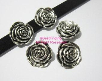 10pcs 10x2mm Solid rose slider 10mm Flat leather findings Flower slider