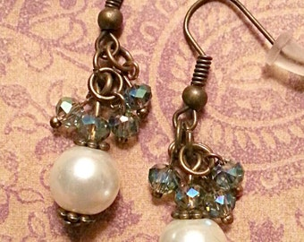 Glass Pearls Crystals Bronze Dangle Earrings