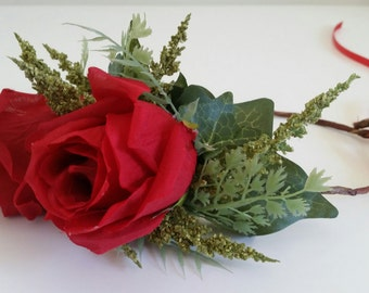 Flower Crown Headband Large Red Roses