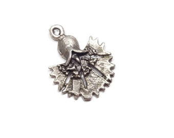 50 Percent Off Sale! 2 Pieces Silver Plated Carnation Flower Charm, Brass Earring Charms, Carnation  Pendants - CNS002