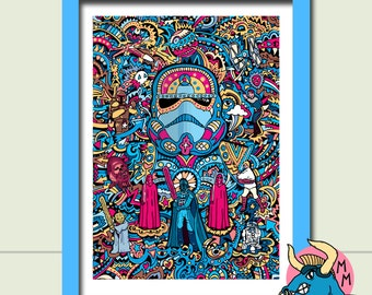 Stormtrooper Art Print , Star Wars Art Print, A3 Art Print, Wall Art, Fine Art, Art Deco, Boyfriend Gift, Husband Gift, Gift For Men, Sci-Fi