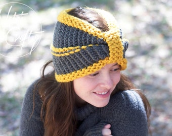 Knitted Turban, Gold & Charcoal