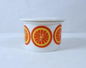 Arabia Finland Jam Jar with Orange Slice Graphic and Lid - Arabia Pomona Series by Ulla Procope